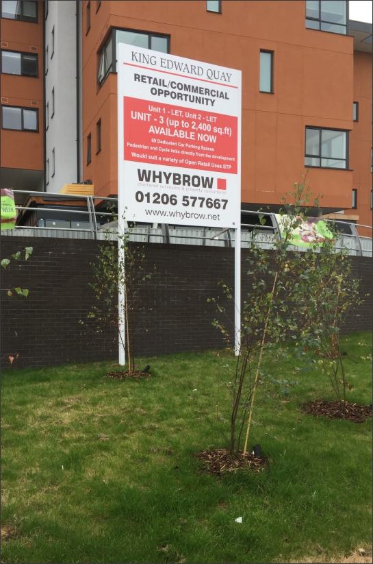 Siteboard for Whybrow at King Edward Quay, Colchester