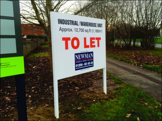 Set of two site boards, either side of entrance to business park