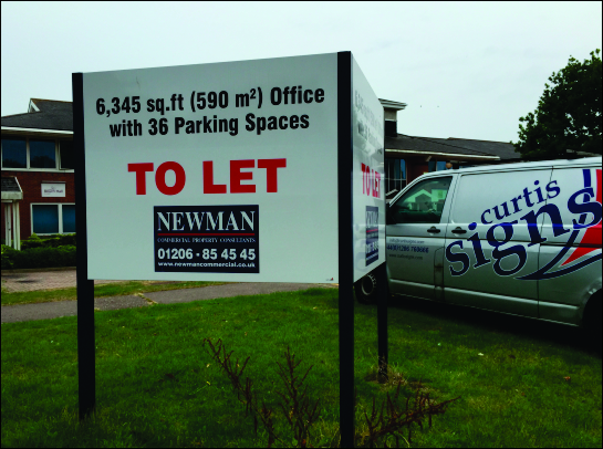 Site board and verge advertising industrial units to let